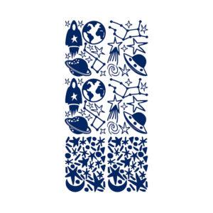 Muursticker met blauwe ruimtebeelden van Pöm