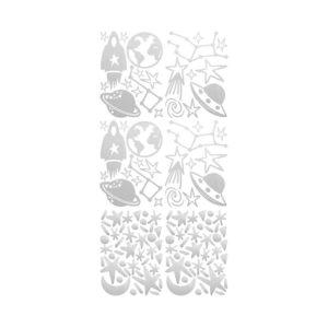 Muursticker met zilveren ruimtebeelden van Pöm