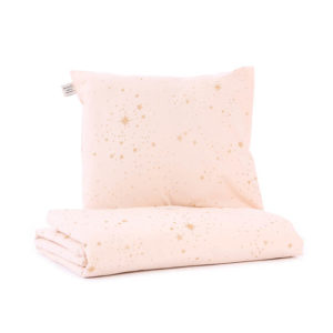 Roze dekbedovertrek met gouden sterren van Nobodinoz