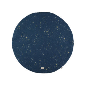 Blauwe ronde speeltapijt met gouden sterren van Nobodinoz