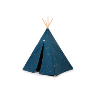 Blauwe tipitent met gouden sterren van Nobodinoz