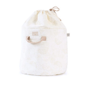 Nobodinoz opbergmand bamboo toy bag small gold bubble white