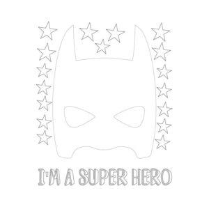 Muursticker met wit super hero masker van Pöm
