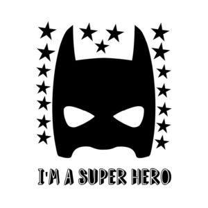 Muursticker met zwart super hero masker van Pöm