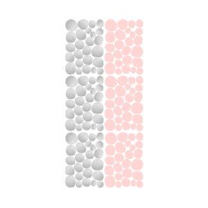 Muursticker met roze en zilveren dots van Pöm