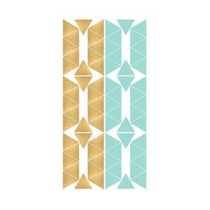 Muursticker met gouden en groen driehoekjes van Pöm