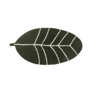 Tapijt in de vorm van een groene veer van Tapis Petit