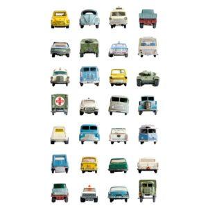 Wit behangpapier met auto's van Studio Ditte