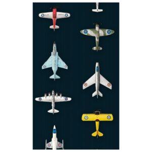 Donker blauw behangpapier met vliegtuigen van Studio Ditte