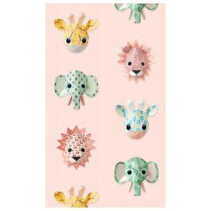 Roze behangpapier met lieve wilde dieren van Studio Ditte