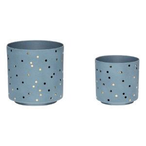 Twee blauwe decopotjes met gouden dots