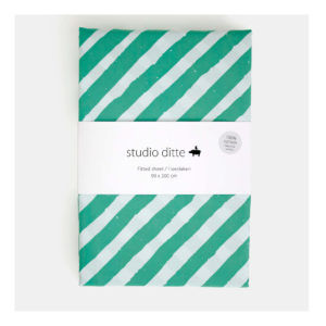 studio ditte hoeslaken strepen groen lichtblauw