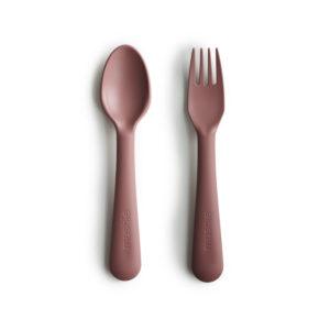 Rode lepel en vork van Mushie