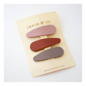 GRECH & CO SNAP MATTE CLIP SET OF 3 SHELL RUST STONE
