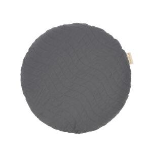 Rond, donker grijs kussen van Nobodinoz