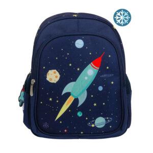 Blauwe rugzak met raket van A Little Lovely Company
