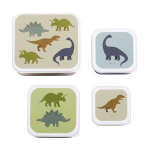 Vier snackdoosjes met dino's van A Little Lovely Company