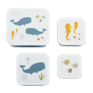 Vier snackdoosjes met zeedieren van A Little Lovely Company